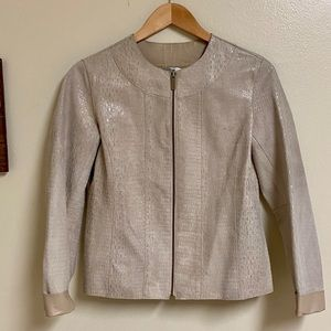 Chico's Genuine Soft Leather Shimmer Creme Jacket